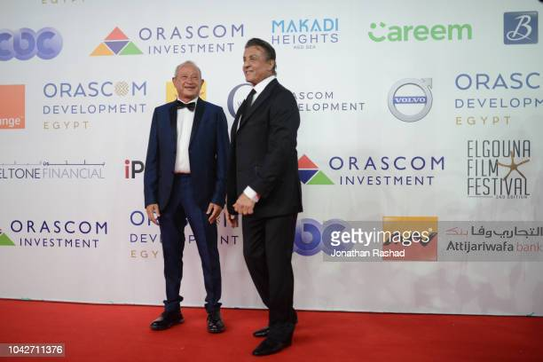 American actor Sylvester Stallone and Egyptian billionare Naguib Sawiris take to the red carpet at the closing ceremony of the 2nd El Gouna Film...