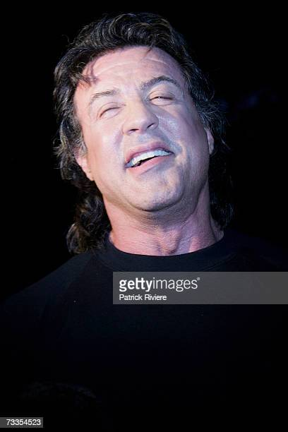 American actor Sylvester Stallone attends the Australian Premiere of Rocky Bilboa the sixth Rocky film in the series at the St George OpenAir Cinema...