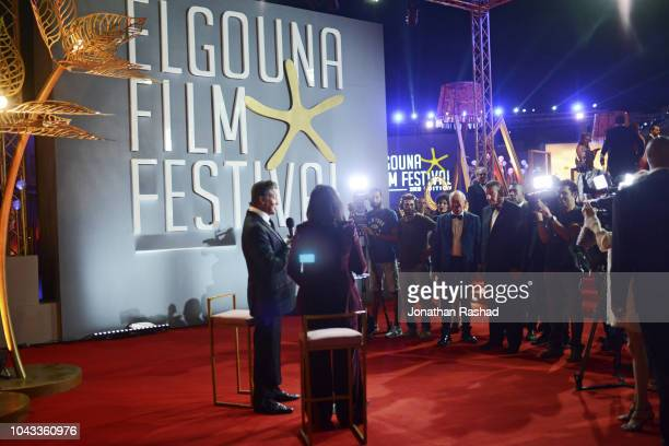 American actor Sylvester Stallone interviewed by press on the red carpet at the closing ceremony of the 2nd El Gouna Film Festival on September 28,...