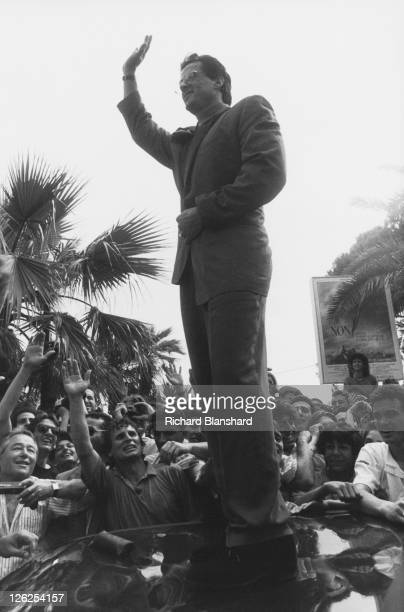 American actor Sylvester Stallone meets fans at the Cannes Film Festival in France May 1990