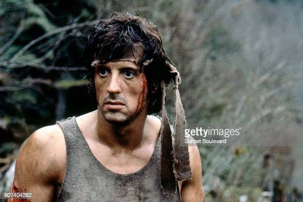 American actor Sylvester Stallone plays Rambo on the set of First Blood based on the novel by Canadian David Morrell and directed by Ted Kotcheff