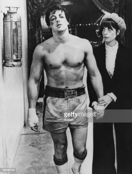 American actor Sylvester Stallone stars in the boxing drama 'Rocky' the film which launched his career Beside him is costar Talia Shire nee Coppola...