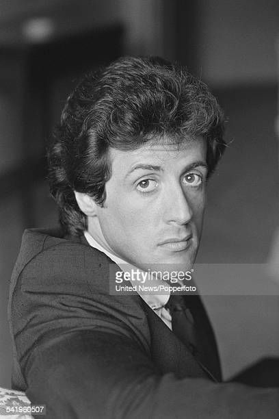 American actor Sylvester Stallone who plays the character of Rocky Balboa in the film Rocky III pictured in London on 15th July 1982