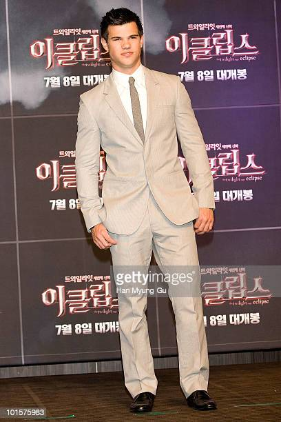 American Actor Taylor Lautner attends the 'Twilight Saga Eclipse' press conference at Shilla Hotel on June 3 2010 in Seoul South Korea The film will...