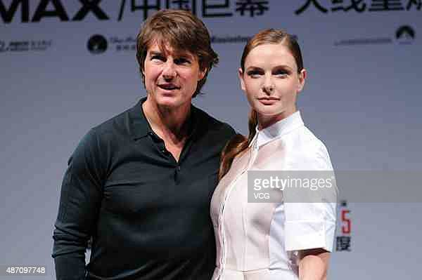 American actor Tom Cruise and Swedish actress Rebecca Ferguson attend the press conference of Christopher McQuarrie's film Mission Impossible Rogue...