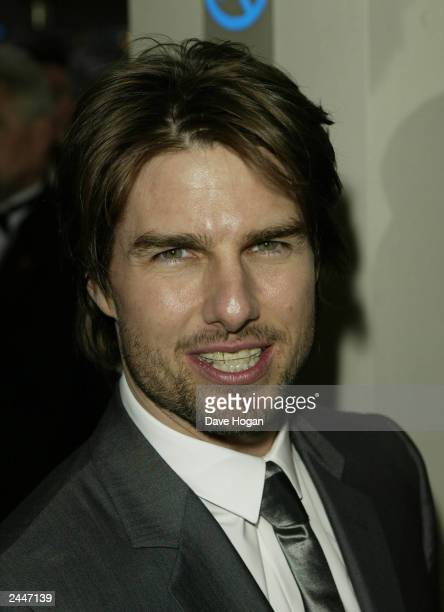 American actor Tom Cruise arrives for the UK premiere of his movie 'Minority Report' at the Odeon Cinema Leicester Square on June 26 2002 in London