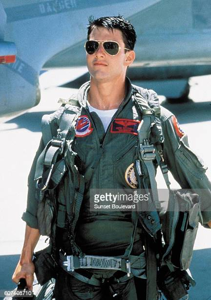 American actor Tom Cruise on the set of Top Gun directed by Tony Scott