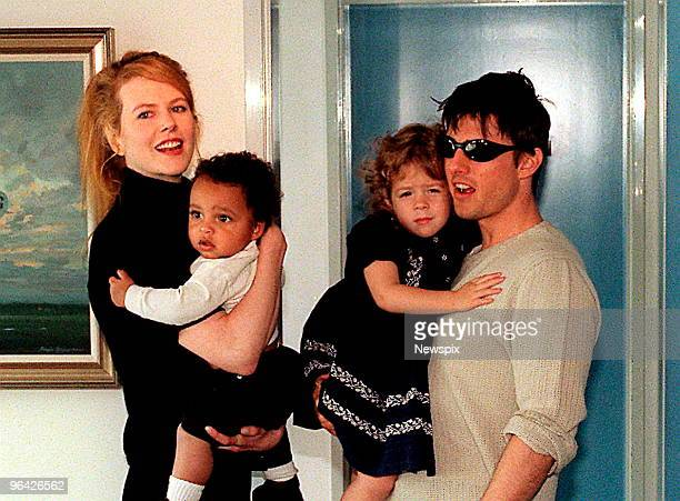 American actor Tom Cruise with his Australian actress wife Nicole Kidman and children Isabella and Connor at Jet Charter Centre after arriving in...