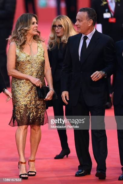 American actor Tom Hanks with his wife Rita Wilson receives the Lifetime Achievement Award during the 2016 Rome Film Fest in the Auditorium Parco...