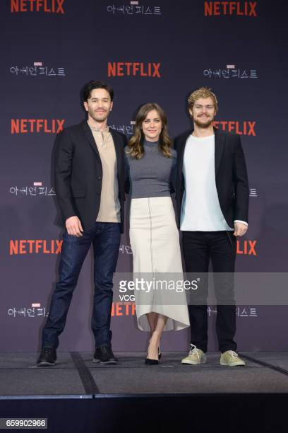 American actor Tom Pelphrey American actress Jessica Stroup and British actor Finn Jones attend a press conference of American web television series...
