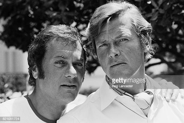 American actor Tony Curtis and British actor Roger Moore as Danny Wilde and Lord Brett Sinclair respectively whilst filming the action television...