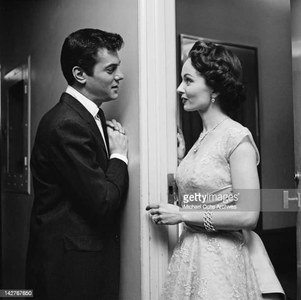 American actor Tony Curtis with actress Ann Blyth during the Oscar nominations California 18th February 1956