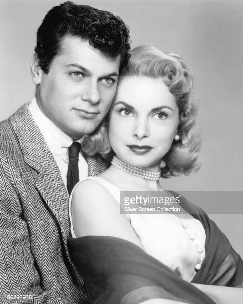 American actor Tony Curtis with his wife, actress American actress Janet Leigh , circa 1955.