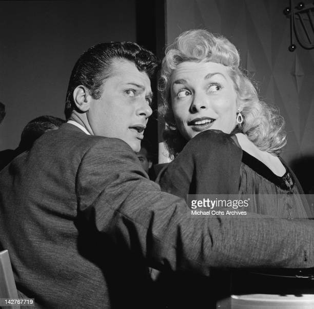 American actor Tony Curtis with his wife actress Janet Leigh at a Thalians event at the Beverly Hilton hotel in Beverly Hills 1st April 1956