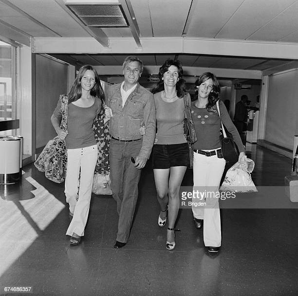 American actor Tony Curtis with his wife Leslie and his daughters Kelly and Jamie Lee at London Airport UK 27th August 1971