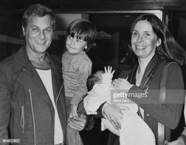 American actor Tony Curtis with his wife Leslie and their sons Nicholas and baby Benjamin at London Airport 12th June 1973 They have arrived by air...