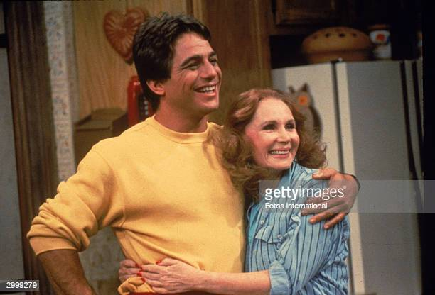 American actor Tony Danza hugs actor Katherine Helmond in a still from the television series, 'Who's The Boss,' circa 1986.