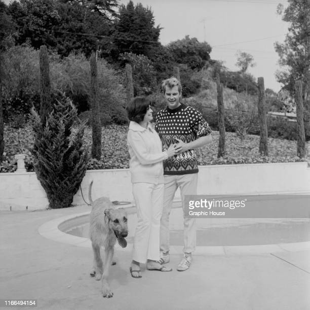 American actor Troy Donahue at home in Beverly Hills California with his wife Valerie Allen circa 1967