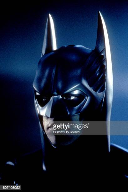 American actor Val Kilmer on the set of Batman Forever, directed by Joel Schumacher.