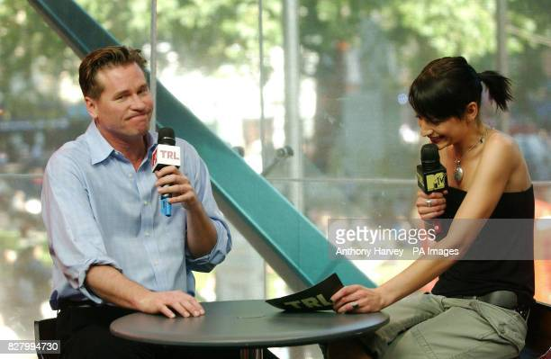 American actor Val Kilmer with host Jo Jacobs during his guest appearance on MTV TRL Total Request Live show