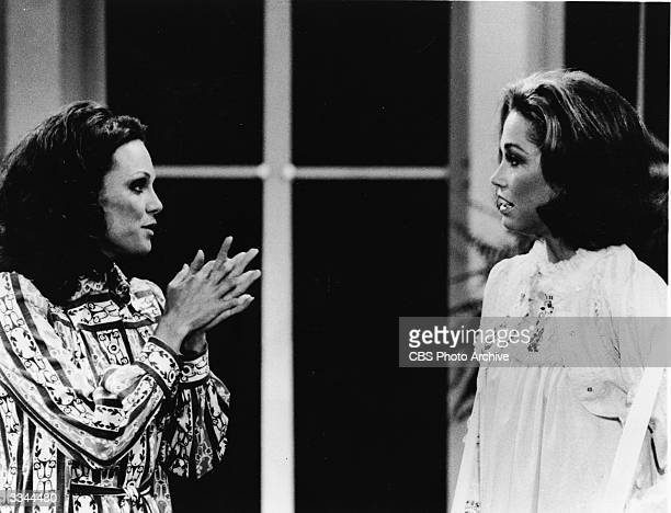 American actor Valerie Harper speaks to Mary Tyler Moore in a still from the television series, 'The Mary Tyler Moore Show,' early 1970s.