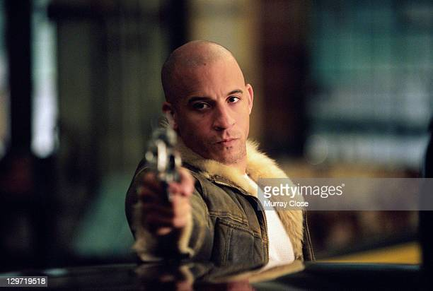 American actor Vin Diesel as Xander Cage in a scene from the film 'xXx', 2002.