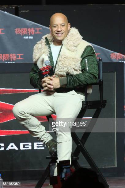 American actor Vin Diesel attends the press conference for xXx Return of Xander Cage on February 9 2017 in Beijing China