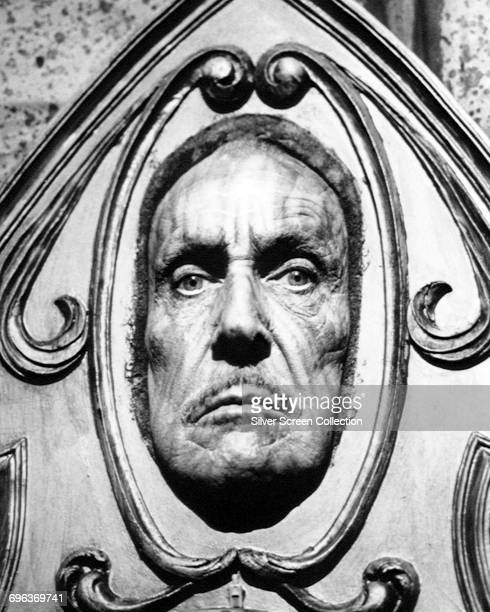 American actor Vincent Price plays the Magic Mirror in 'Snow White and the Seven Dwarfs' an episode of the television series 'Faerie Tale Theatre'...