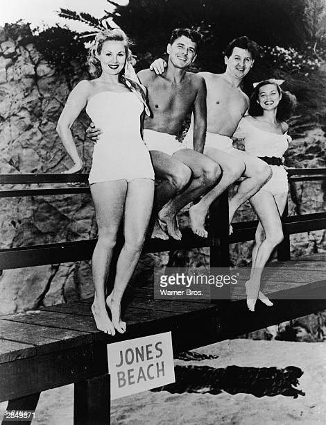 American actor Virginia Mayo American actor and politician Ronald Reagan American actor and comedian Eddie Bracken and American actor Dona Drake pose...