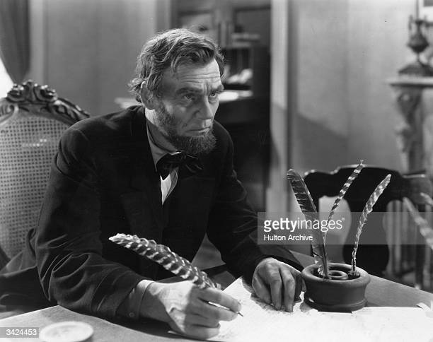 American actor Walter Huston born Walter Houghston plays the title role in D W Griffith's biographical film 'Abraham Lincoln'