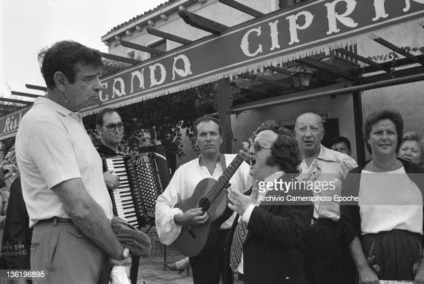 American actor Walter Matthau standing outside the Locanda Cipriani at the Tribute To Ingrid GalaTorcello Venice 1983