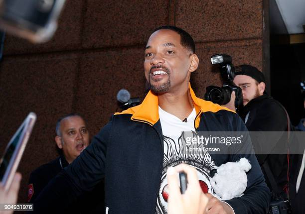 American actor Will Smith greets fans at Martin place ahead of his appearance on 'Sunrise' on January 15 2018 in Sydney Australia