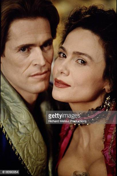 American actor Willem Dafoe and Swedish actress Lena Olin on the set of the 1995 movie The Night and the Moment directed by Italian AnnaMaria Tato