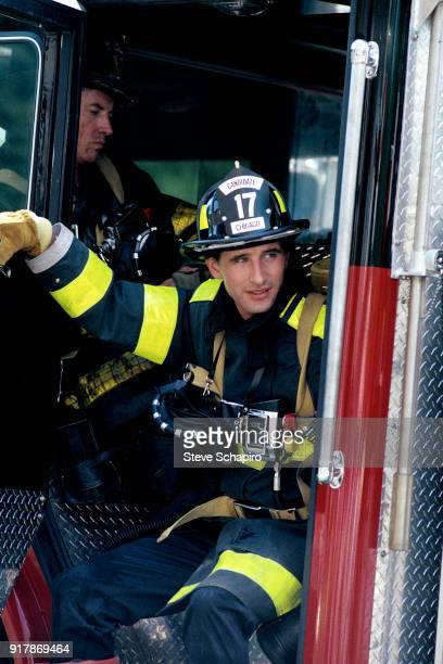 American actor William Baldwin on the set of the film 'Backdraft' Los Angeles California 1990 Visible in the background is fellow actor Scott Glenn