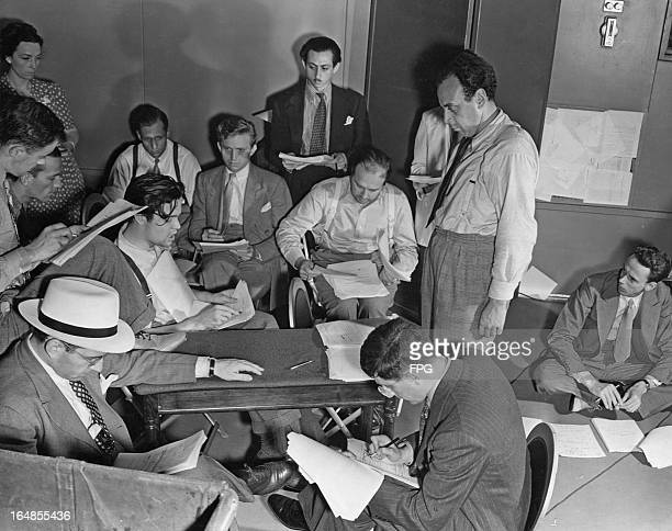 American actor writer director and producer Orson Welles at the Columbia Broadcasting System studio USA 1938