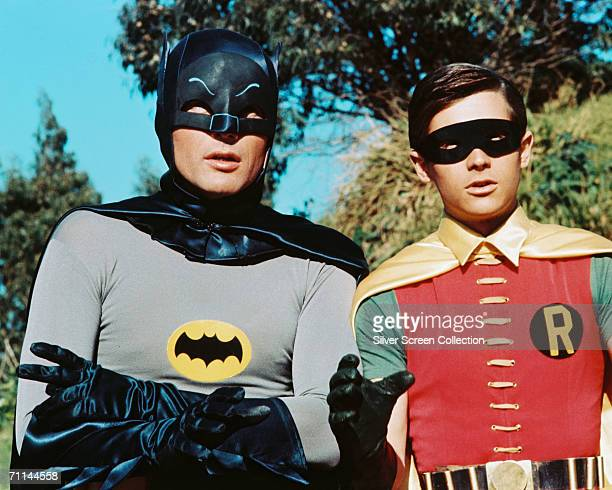 American actors Adam West as Bruce Wayne/Batman and Burt Ward as Dick Grayson/Robin in the TV series 'Batman', circa 1966.