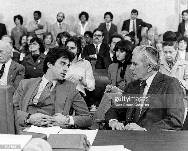 American actors Al Pacino as Arthur Kirkland and John Forsythe as Judge Henry T Fleming in 'And Justice for All' directed by Norman Jewison 1979