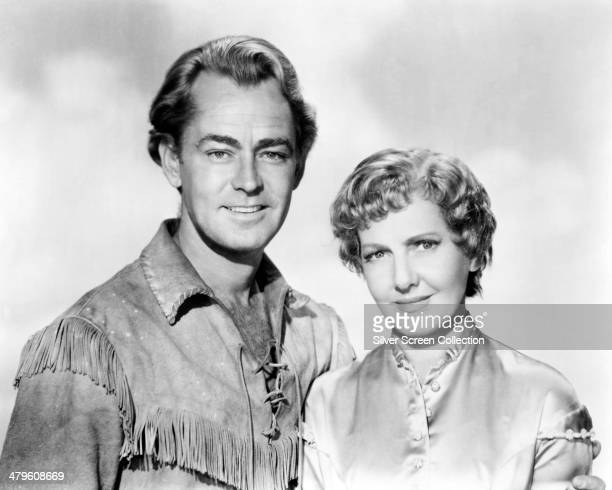 American actors Alan Ladd and Jean Arthur in a promotional portrait for 'Shane' directed by George Stevens 1953