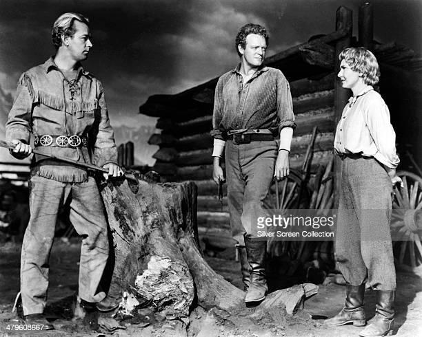 American actors Alan Ladd as Shane Van Heflin as Joe Starrett and Jean Arthur as Marian Starrett in 'Shane' directed by George Stevens 1953