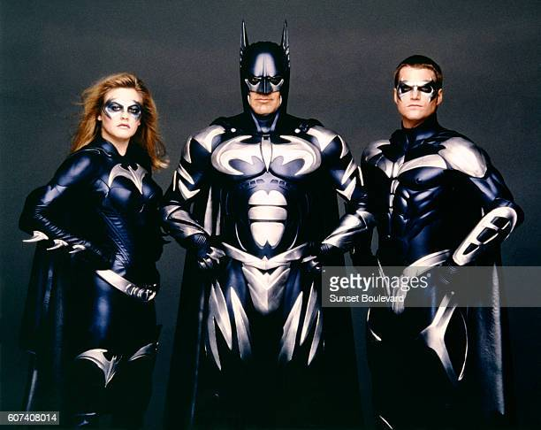 American actors Alicia Silverstone, George Clooney and Chris O'Donnell on the set of Batman & Robin, directed by Joel Schumacher.