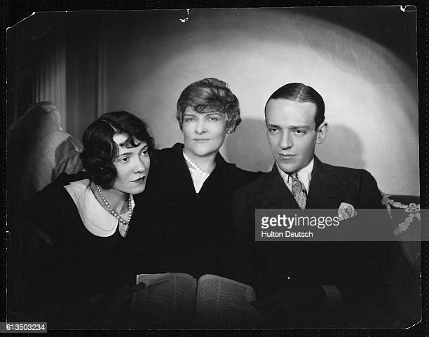 American actors and dancers Adele and Fred Astaire with their mother in 1926