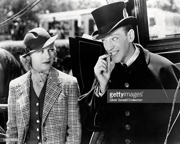 American actors and dancers Fred Astaire as Jerry Travers and Ginger Rogers as Dale Tremont in 'Top Hat' directed by Mark Sandrich 1935