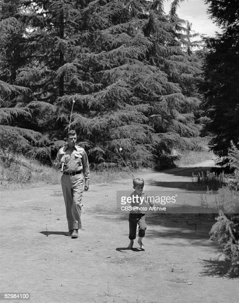 American actors Andy Griffith and Ron Howard walk along a dirt road with fishing poles over their shoulders in a scene from 'The Andy Griffith Show'...