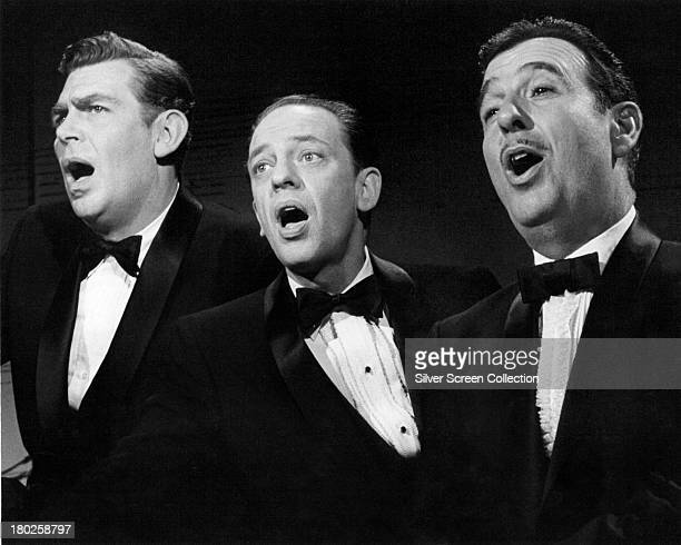American actors Andy Griffith , Don Knotts and Jack Dodson singing, circa 1965. They play Andy Taylor, Barney Fife and Howard Sprague, respectively,...