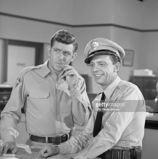 American actors Andy Griffith Don Knotts in an episode of 'the Andy Griffith Show' entitled 'The Bank Job' California November 6 1962 The episode was...