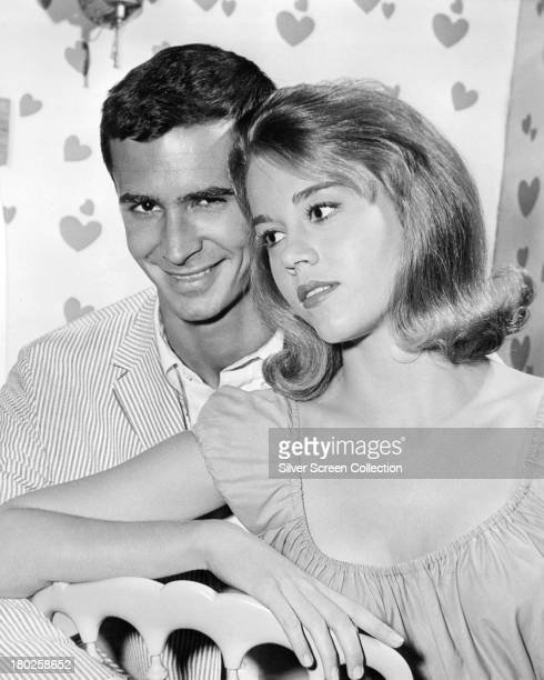 American actors Anthony Perkins as Ray Blent and Jane Fonda as June Ryder in 'Tall Story' directed by Joshua Logan 1960 The film is Fonda's debut