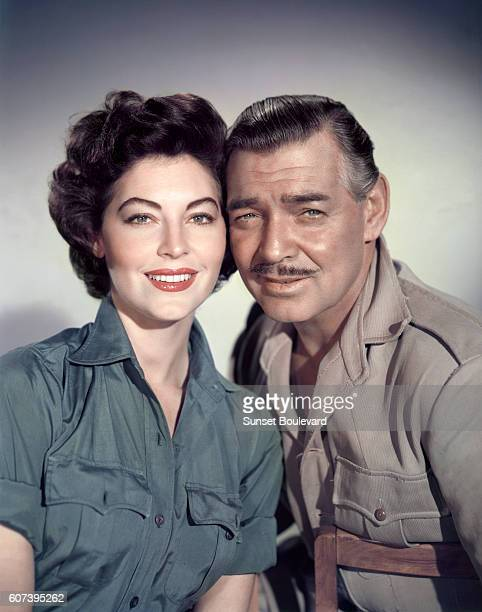 American actors Ava Gardner and Clark Gable on the set of Mogambo directed by John Ford