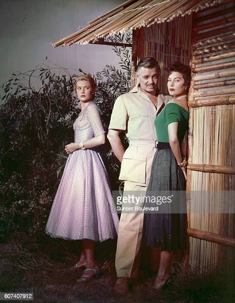 American actors Ava Gardner Clark Gable and Grace Kelly on the set of Mogambo directed by John Ford