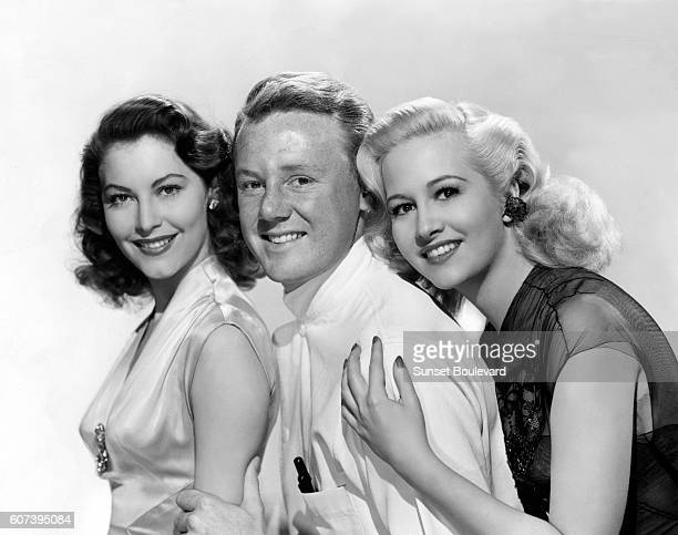 American actors Ava Gardner Marilyn Maxwell and Van Johnson on the set of The Sun Also Rises directed by Henry King