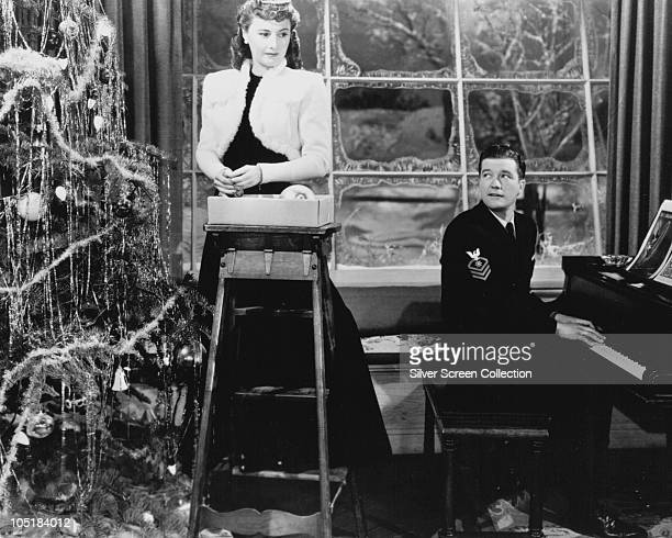 American actors Barbara Stanwyck and Dennis Morgan star in the film 'Christmas in Connecticut' aka 'Indiscretion' 1945
